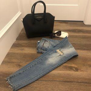 Zara basic light wash ripped jeans